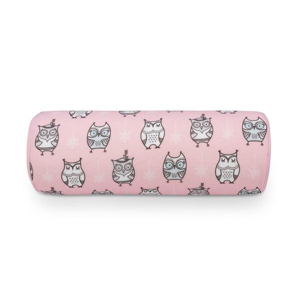 Różowa poduszka z motywem sówek KICOTI Pink, 15x40 cm
