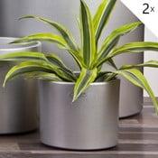 Sada 2 stříbrných květináčů Ovale, 13 cm