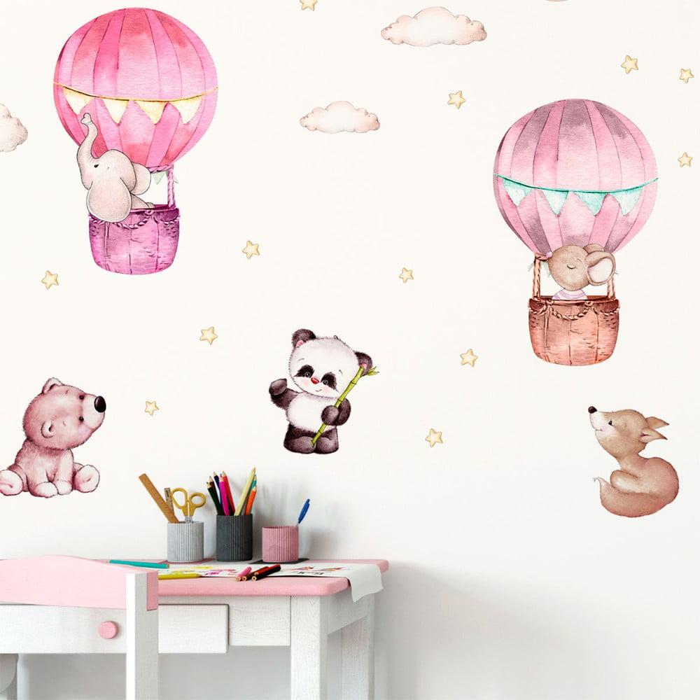 Růžové dětské samolepky na zeď Ambiance Balloons and Stars