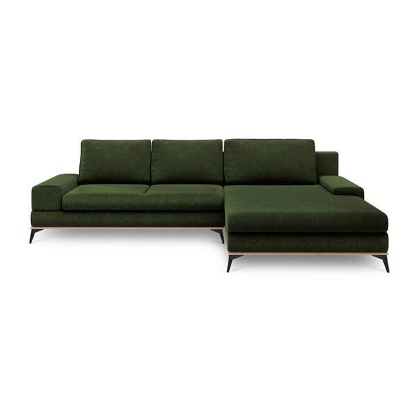 Colțar extensibil cu șezlong pe partea dreaptă Windsor & Co Sofas Planet, verde smarald