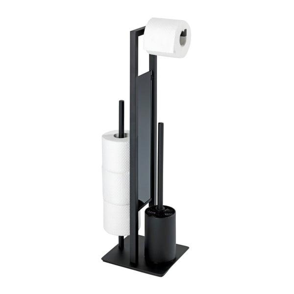 Černý WC kartáč se stojanem na toaletní papír Wenko Rivalta