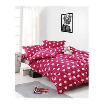 Lenjerie de pat cu cearșaf din bumbac ranforce, pentru pat dublu Mijolnir Chole Red, 160 x 220 cm de la Mijolnir