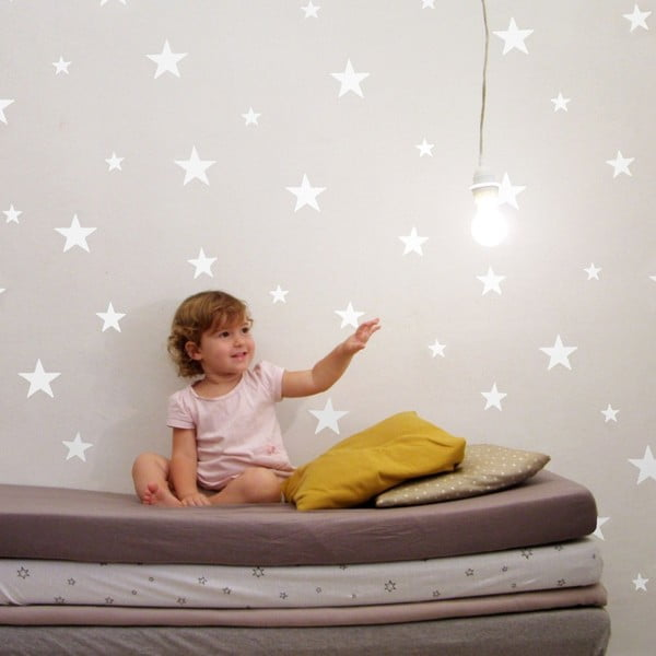 Zestaw 81 białych naklejek ściennych Stars