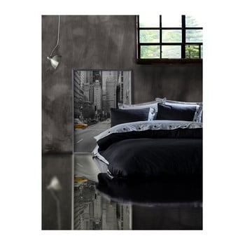 Lenjerie cu cearșaf din bumbac ranforce pentru pat dublu Grey Black, 200 x 220 cm de la Unknown