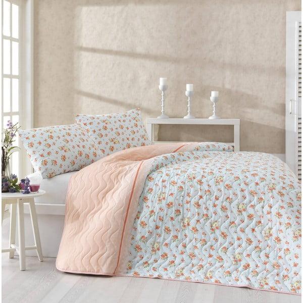 Sada přehozu přes postel a dvou povlaků na polštář Fresh Orange, 200x220 cm
