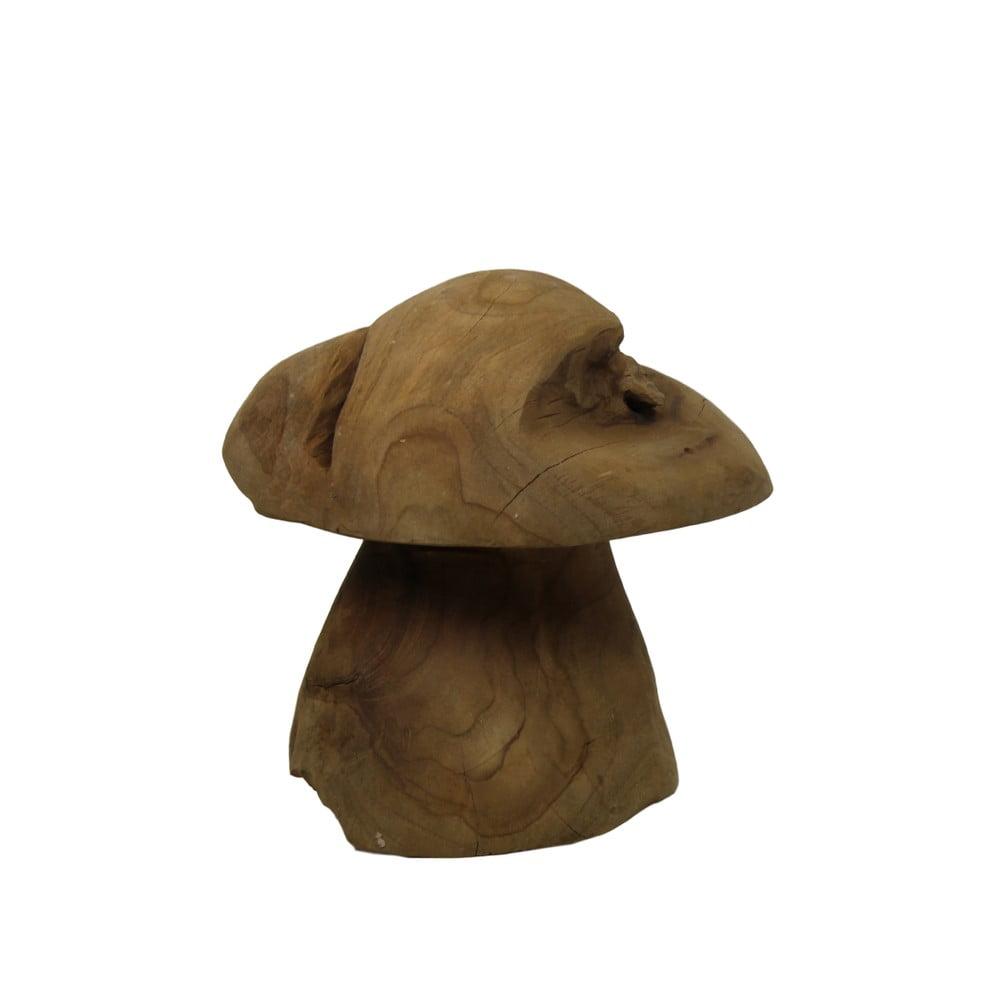 Dekorace z teakového dřeva HSM Collection Mushroom, 25 cm