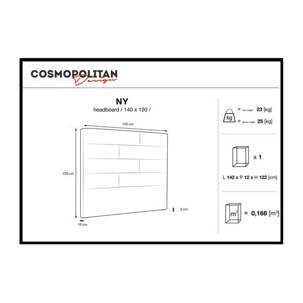 Tmavě šedé čelo postele Cosmopolitan Design New York, šířka 140cm