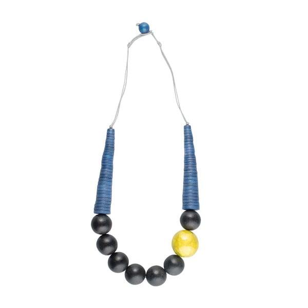 Náhrdelník Woody Shell, modro-žlutý