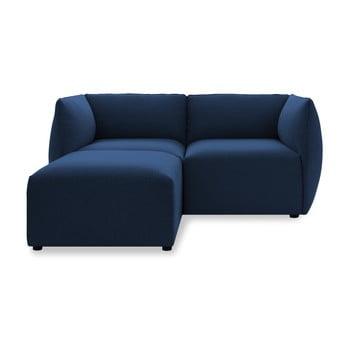 Canapea modulară cu 2 locuri și suport pentru picioare Vivonita Cube albastru închis