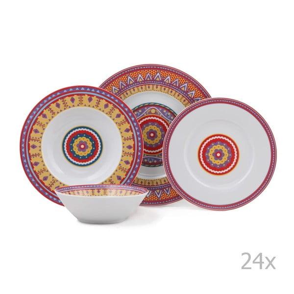 Zestaw 24 porcelanowych naczyń Color Boris