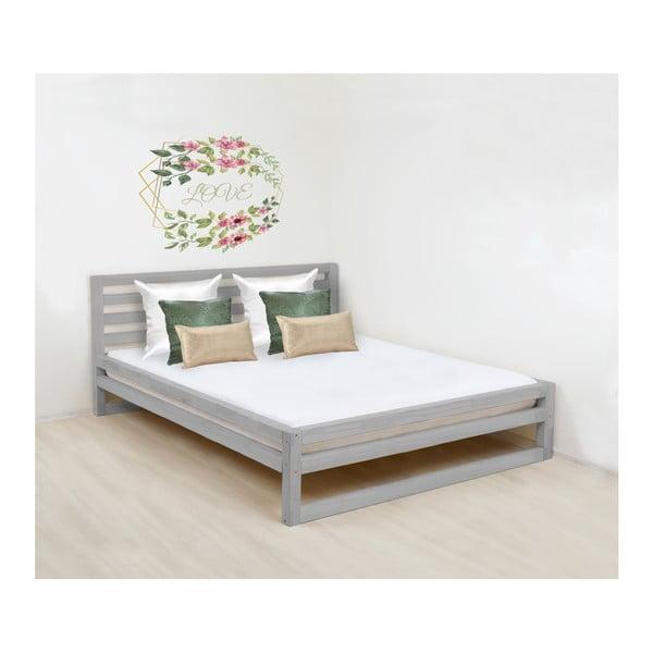 Sivá drevená dvojlôžková posteľ Benlemi DeLuxe, 200 × 180 cm