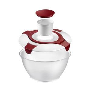 Bílo-červená mísa na salát s nádobkou na dresink Westmark Vege, 6,5l