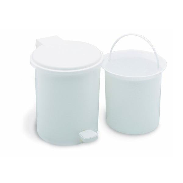 Coș de gunoi cu pedală, pentru baie Addis, 20 x 12,5 x 39 cm, alb