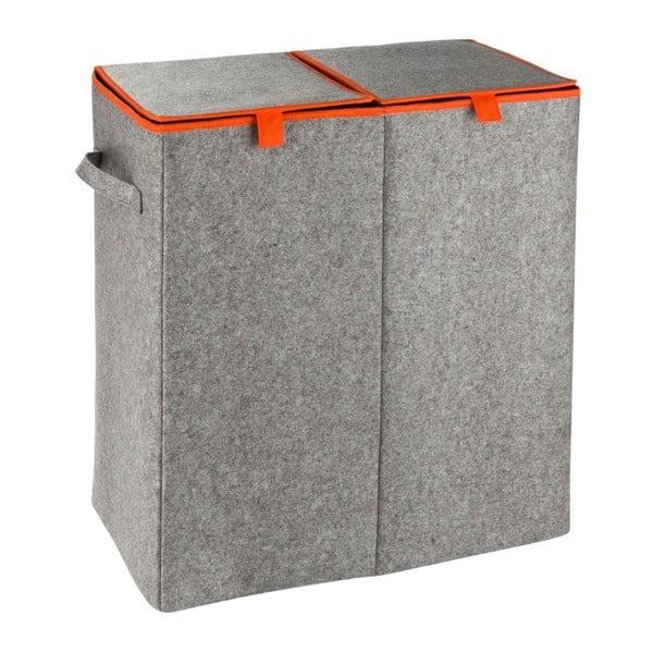 Šedo-oranžový dvojitý koš na prádlo Wenko Duo, 82 l