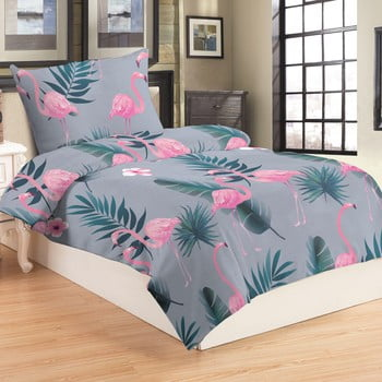 Lenjerie de pat din micropluș My House Flamingo, 140 x 200 cm poza