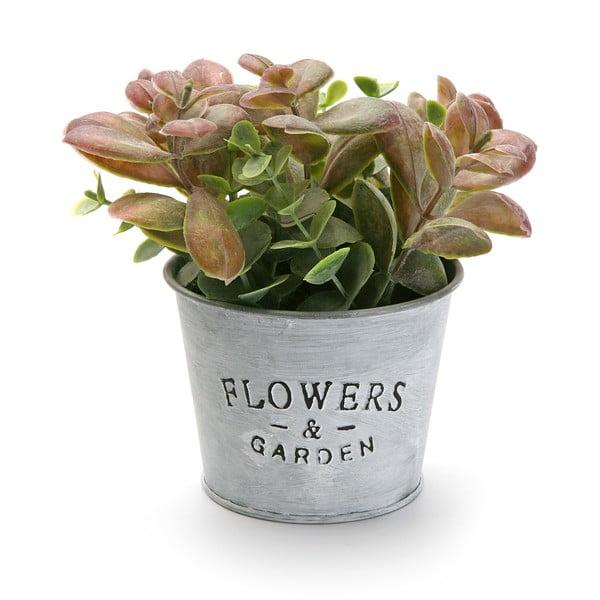 Kovový květináč s umělou květinou Garden