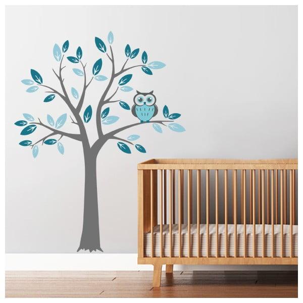 Samolepka Strom a modrá sova, 70x50 cm