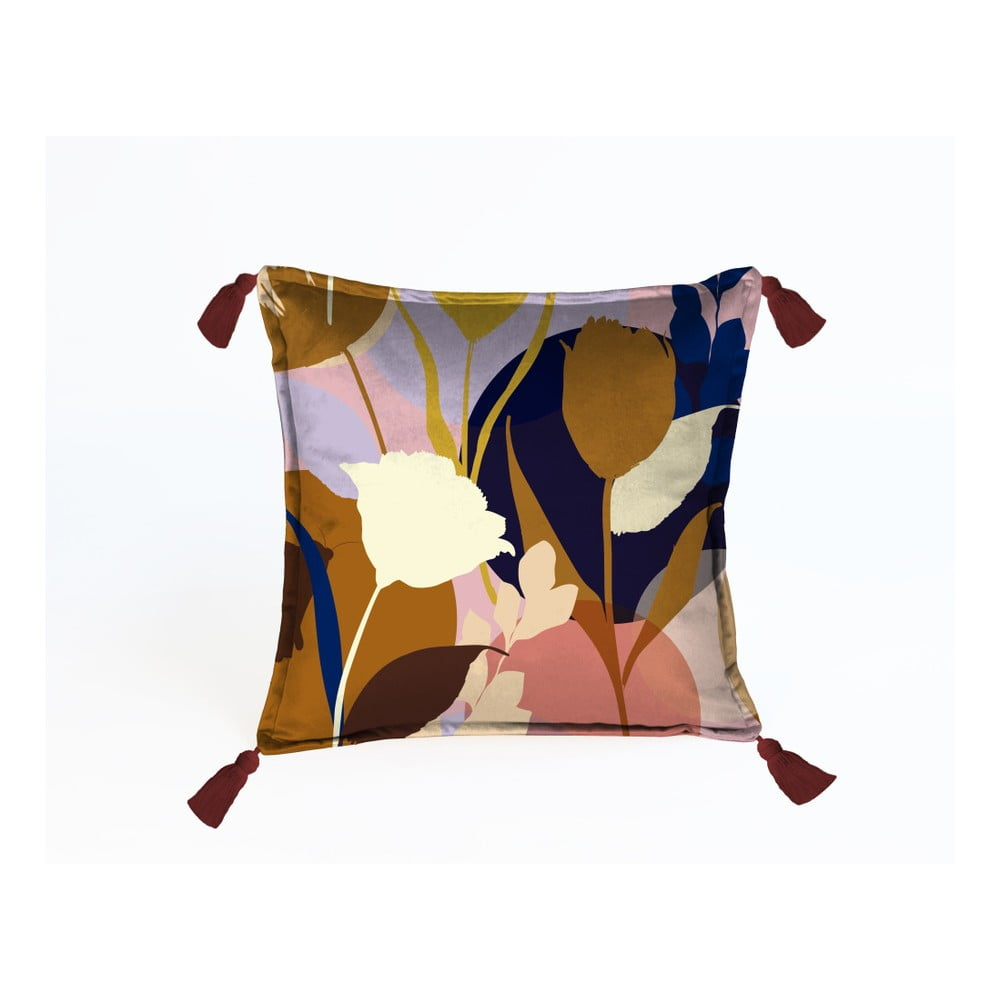 Barevný dekorativní polštář Velvet Atelier Florals, 45 x 45 cm