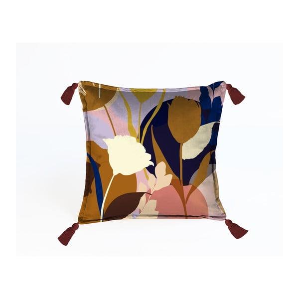 Barevný dekorativní povlak na polštář Velvet Atelier Florals, 45 x 45 cm