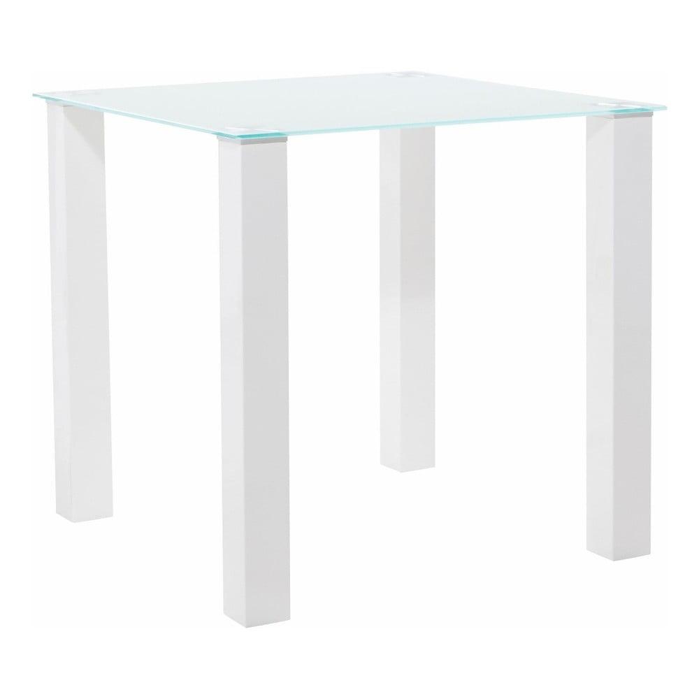 Lesklý bílý jídelní stůl s deskou z tvrzeného skla Støraa, 80 x 80 cm