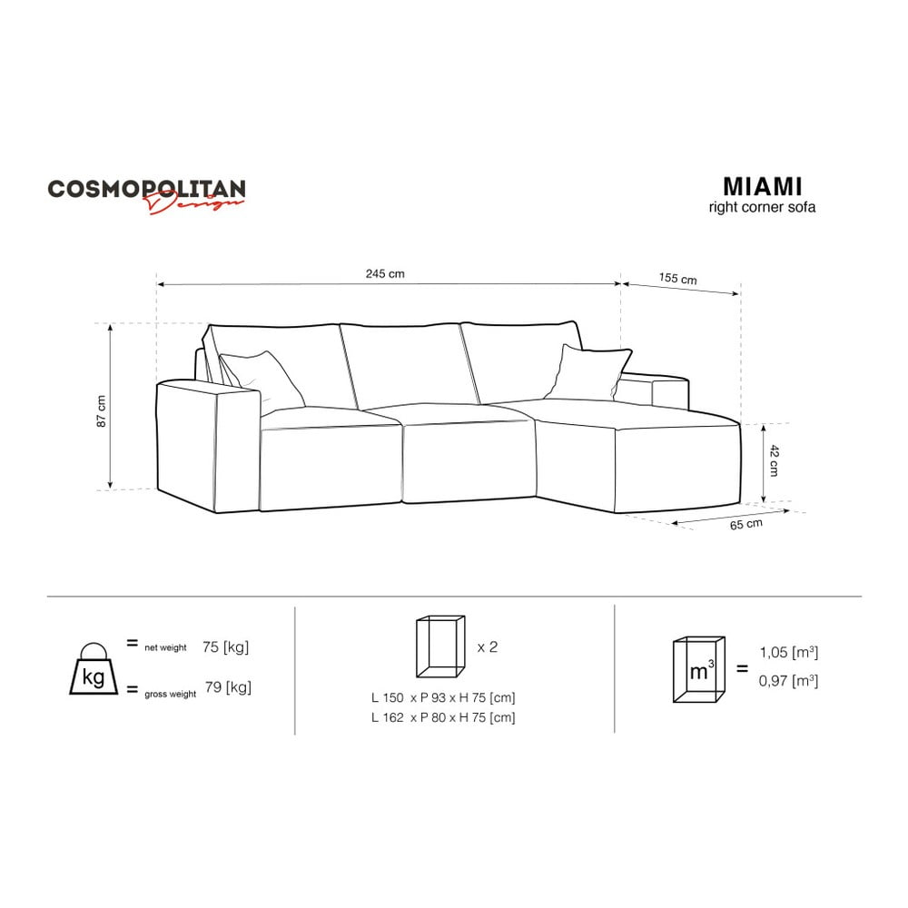 Produktové foto Béžová rohová pohovka Cosmopolitan Design Miami, pravý roh