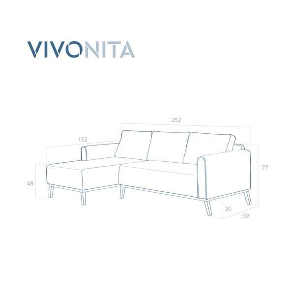 Fialová 3místná sedačka levý roh Vivonita Milton Trend