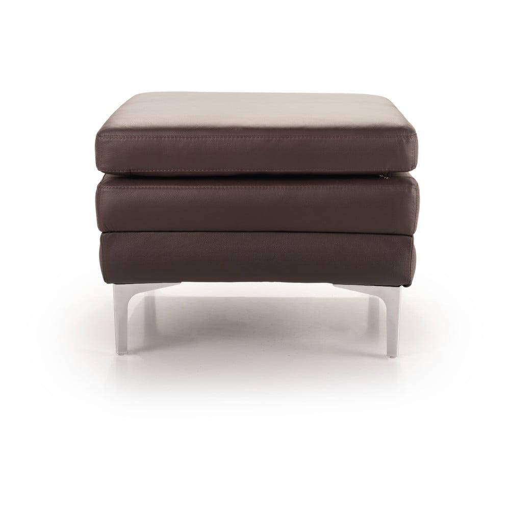Hnědá kožená lavice Scandic Twigo