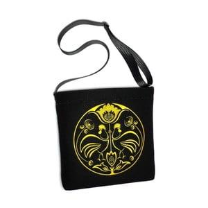 Plstěná vyšívaná taška Goshico Folk kohoutí, žlutá