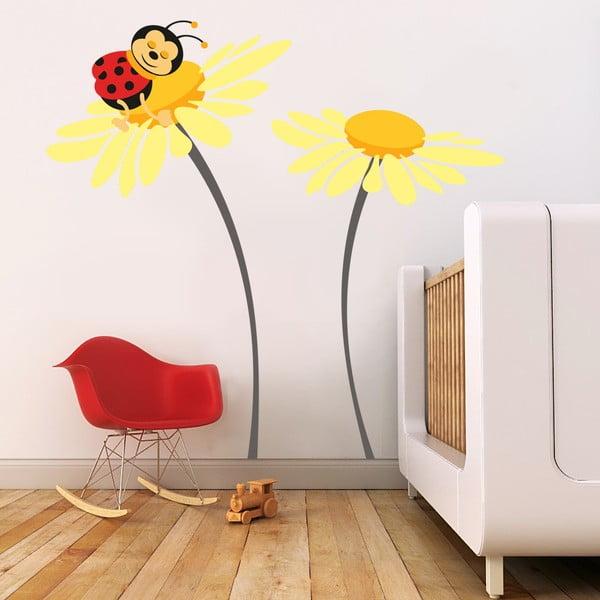 Samolepka na stěnu Beruška na květu, žlutá - 2 archy, 70x50 cm