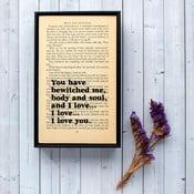 Plakát v dřevěném rámu Pride and Prejudice Bewitched