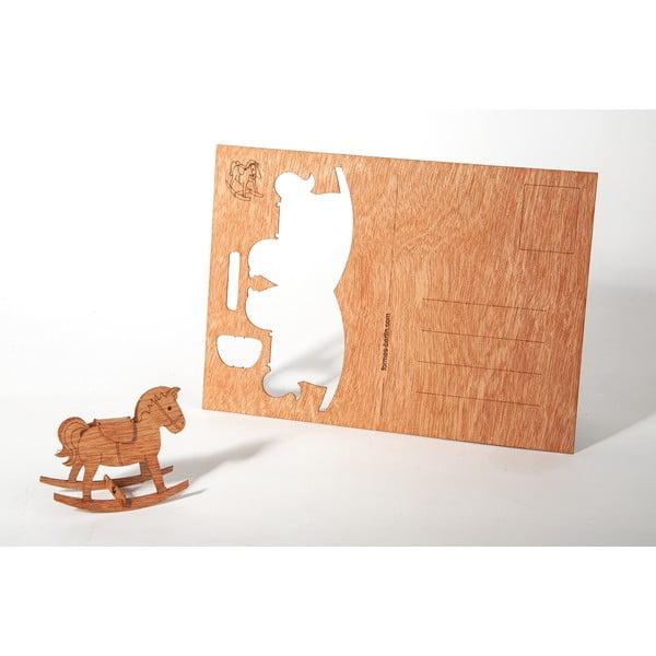 Dřevěná pohlednice Formes Berlin Koník, 14,8 x 10,5 cm