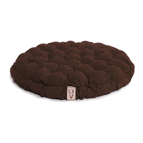 Tmavě hnědý sedací polštářek s masážními míčky Linda Vrňáková Bloom, Ø65cm