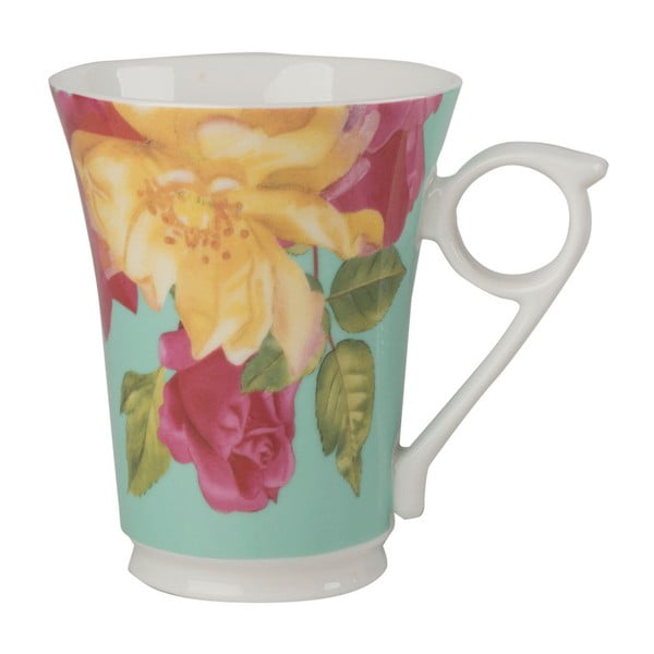 Zelený porcelánový hrnek z keramiky s květinovým motivem Creative Tops, 300 ml