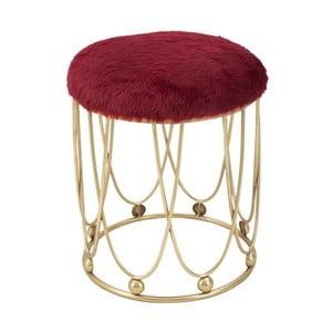 Vínově červená polstrovaná stolička s železnou konstrukcí ve zlaté barvě Mauro Ferretti Amelia