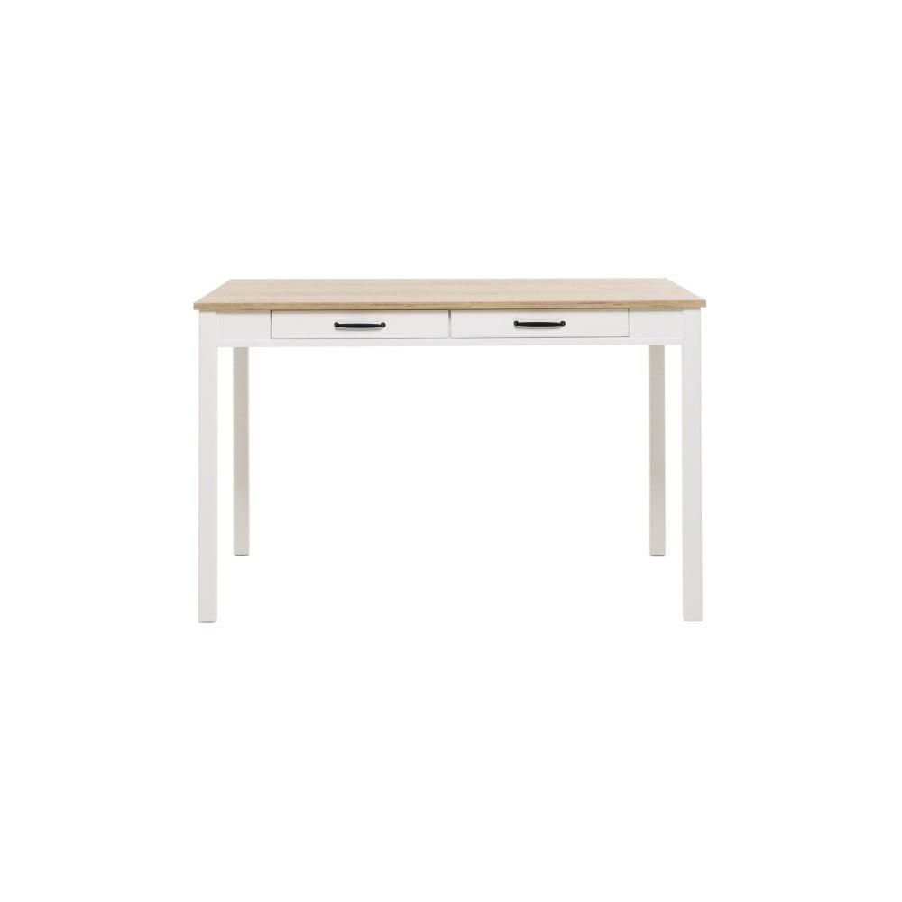 Bílý jídelní stůl s deskou v dubovém dekoru Intertrade Gotland, 120 x 80 cm