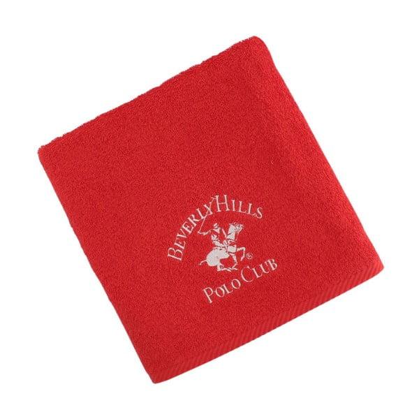 Červený bavlněný ručník BHPC, 50x100 cm