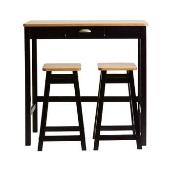 Masă tip bar cu 2 scaune din lemn masiv de pin Marckeric Caya, negru imagine