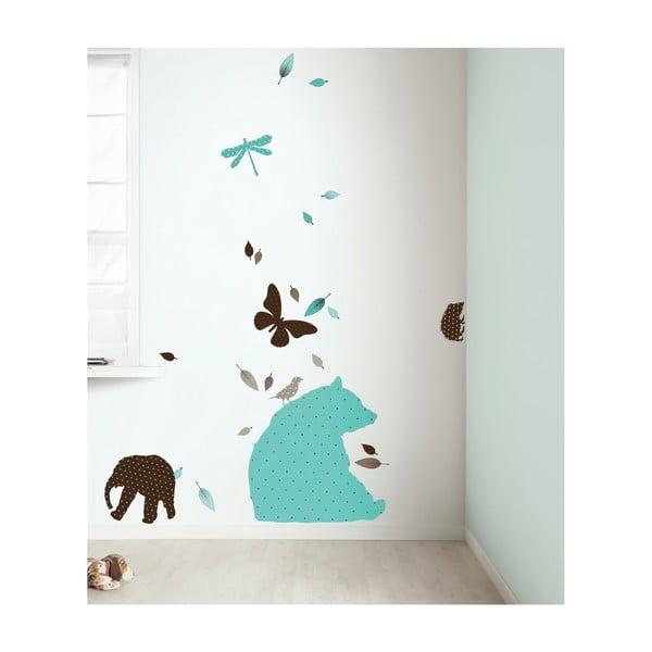 Samolepky Fabric Friends - tyrkysový medvěd s kamarády