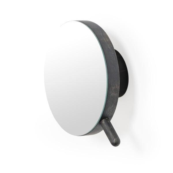 Černé nástěnné kosmetické zvětšovací zrcadlo zdubového dřeva Wireworks Slimline