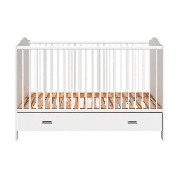 Pătuț pentru copii cu sertar BELLAMY Fino,70x140cm, alb