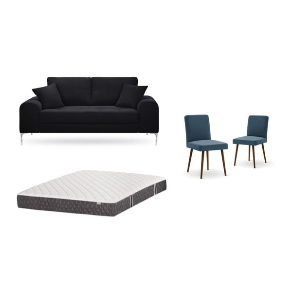 Set canapea neagră,, 2 scaune albastre, o saltea 140 x 200 cm Home Essentials