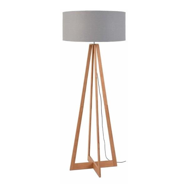 Stojací lampa se světle šedým stínidlem a konstrukcí z bambusu Good&Mojo Everest