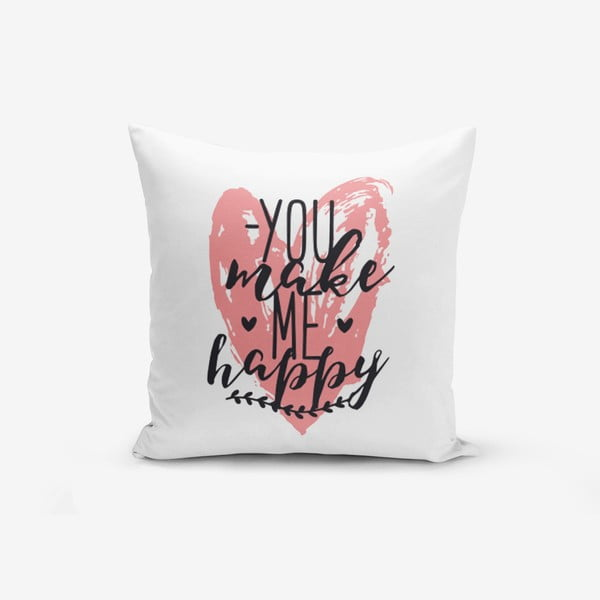Obliečky na vaknúš s prímesou bavlny Minimalist Cushion Covers You Make me Happy, 45 × 45 cm