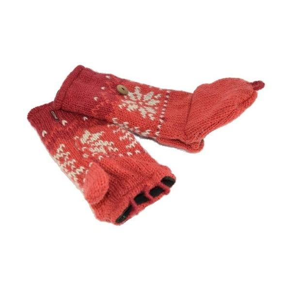 Vlněné palčáky bez prstů Červená vločka