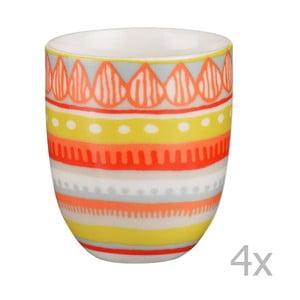 Sada 4 porcelánových šálků na espresso Oilily 80 ml, žlutá