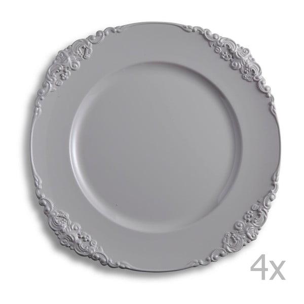 Sada čtyř šedých talířů Brandani Elegance
