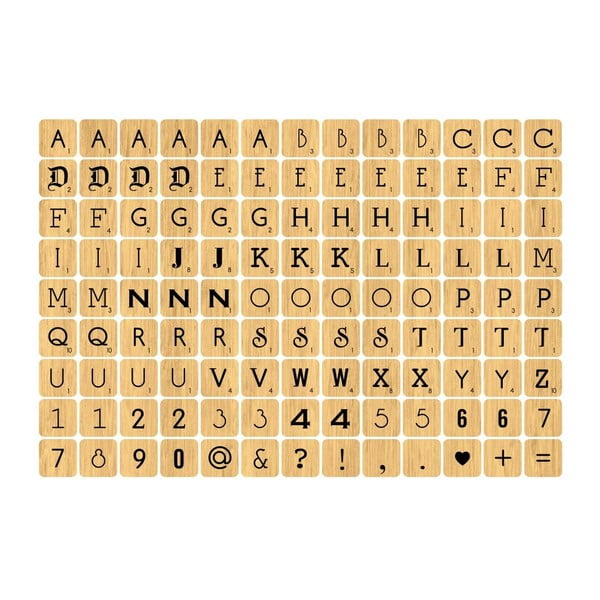 Samolepka Wood Letter Tiles Mini