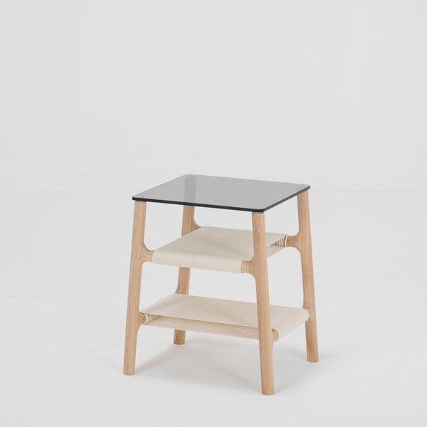 Odkládací stolek s konstrukcí z masivního dubového dřeva a šedou deskou Gazzda Fawn
