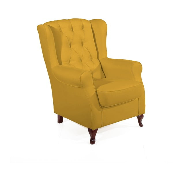 Žluté křeslo ušák Max Winzer Lex