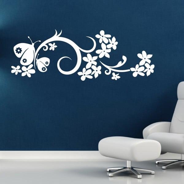 Samolepka na stěnu Ornament s motýly, bílá